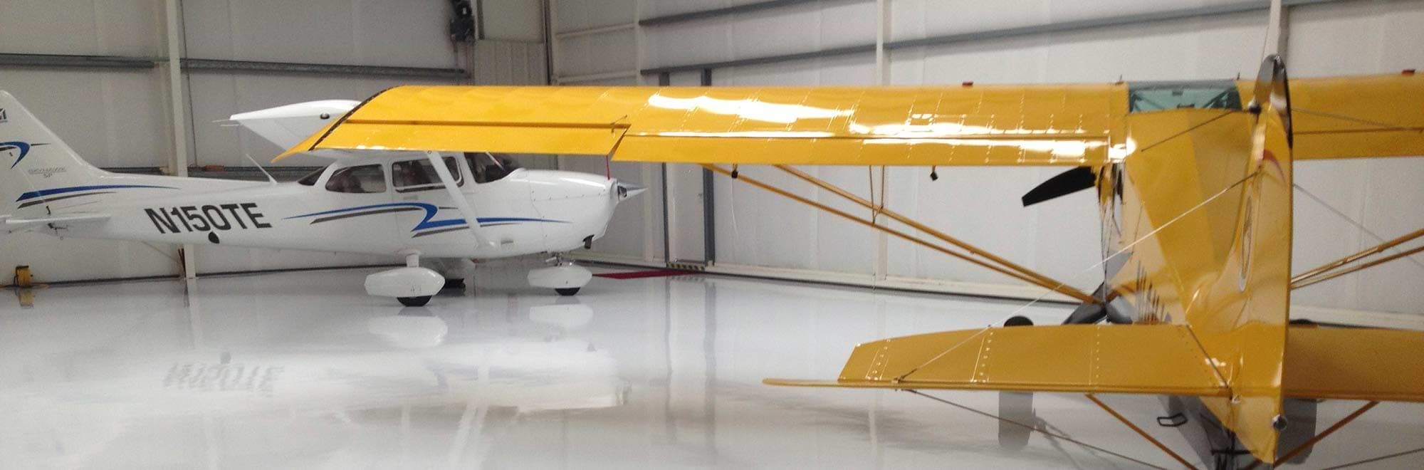 Epoxy Flooring in Airplain hanger