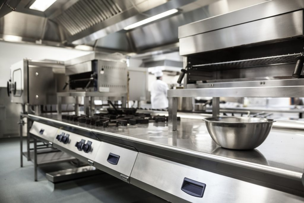clean commercial kitchen in a restaurant