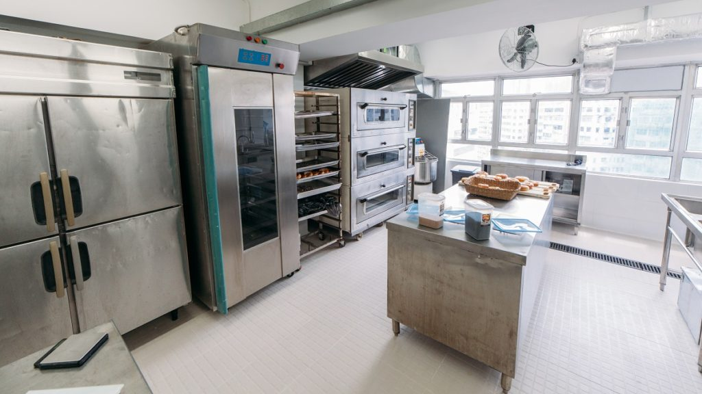 wide shot of a commercial kitchen